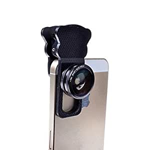3-in-1Cat Eye Clip Camera Lens Kit Set Fisheye Lens with Wide Angle and Macro lens for iPhone and Others(Assorted Color) , Black