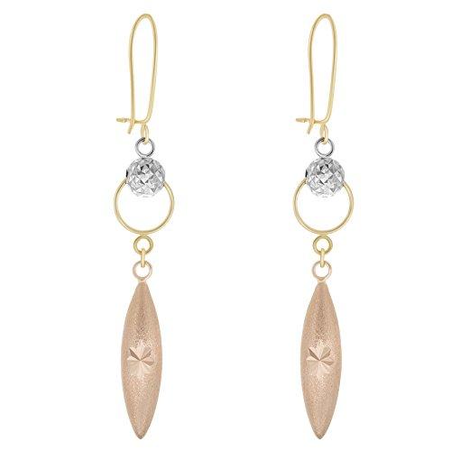 Diamond Fancy Drop - Tousi Fancy Hanging Earrings - 14k Gold Tri Color Drop Diamond Cut Earring for Women and Girls - Unique Fine Jewelry Gift - Size 2 INCH