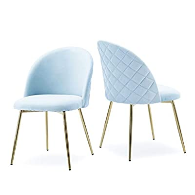 Altrobene Velvet Accent Dining Chairs, Home Office/Living Room/Bedroom Chair, Set of 2, Golden Mental Legs, Blue - Modern accent dining chair with ergonomic shape & curved designed backrest Durable construction with metal frame & thicken wooden board internal Sturdy metal tube legs with rich, shiny golden plating coat - kitchen-dining-room-furniture, kitchen-dining-room, kitchen-dining-room-chairs - 31VstnDIHsL. SS400  -
