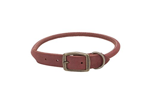 Dog Collar Red Brick (Coastal Pet Products Circle T Rustic Leather Round Dog Collar, 3/4