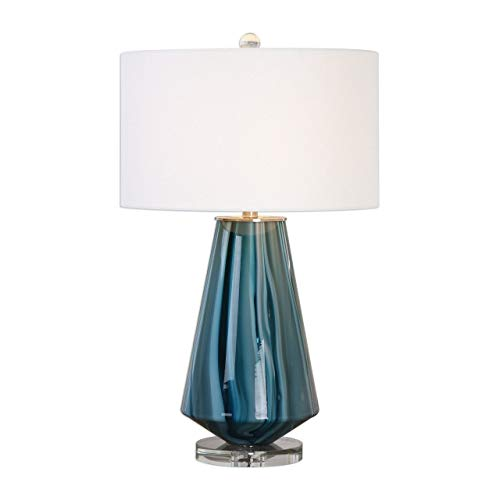 Uttermost 27225-1 Pescara - One Light Table Lamp, Blue Ivory/Brushed Nickel/Crystal Finish with Teal-Gray Glass with Ivory Linen Fabric Shade
