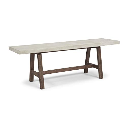 Concrete Chic White Trestle Dining Bench by Home Styles