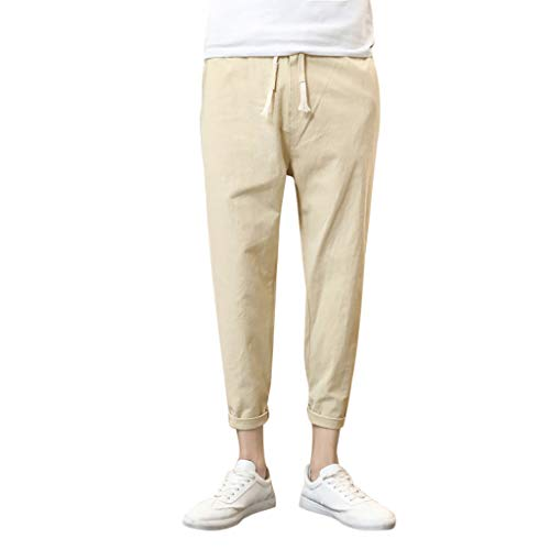 ANJUNIE Men Elastic Waist Loose Fit Work Drawstring Trousers Pure Color Tethers Cotton Linen Small Feet Casual Pant(Khaki,M)