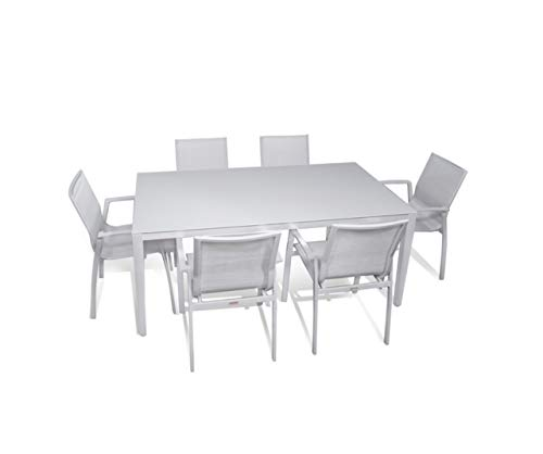 Outdoor Patio Furniture New Aluminum Gray Frosted Glass 7-Piece Rectangular Dining Table & Wicker Resin Textilene Sling Chairs Set