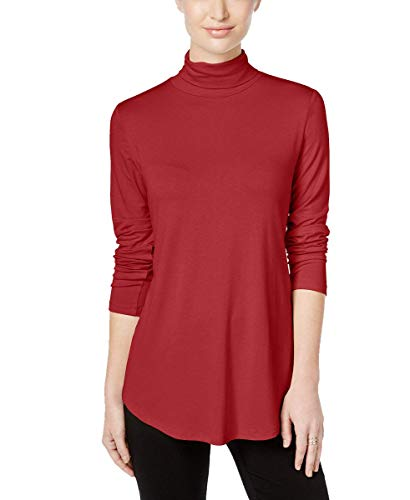 JM Collection Womens Turtleneck Swing Hem Casual Top Red L from JM Collection