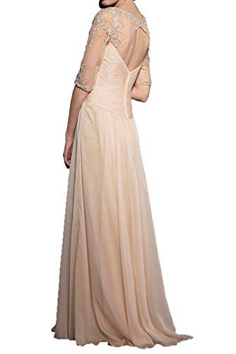 Milano Bride Beige Langarm Spitze Abendkleider Promkleider V-ausschnitt Chiffon brautmutter Ballkleider
