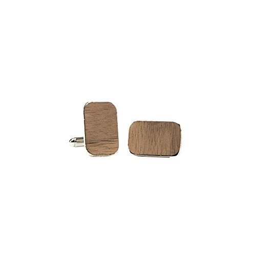 WOODCHUCK Wooden Cufflinks (Walnut), Handmade in The USA, 100% Real Wood - Stainless Steel Body
