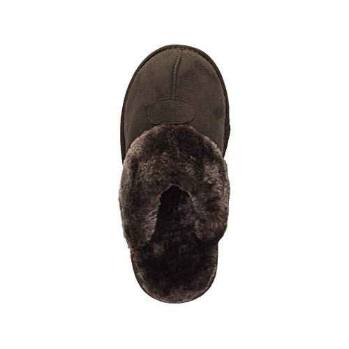 Pantoufles Brun Ajvani Fourrure Chaussons Doublée Confortable Femmes Hiver Chaude Plat Pointure Luxe De wOzSqC