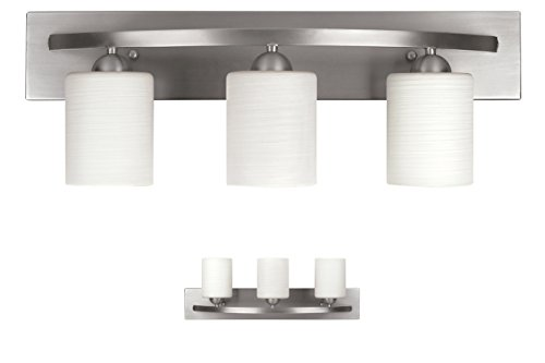 Fixtures Brushed Nickel Light Bathroom (WholesalePlumbing IVL370A03BPT 3 Bulb Vanity Light Fixture Bath Interior Lighting, Brushed Nickel)