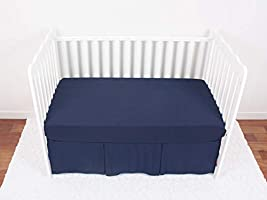 14 inches Drop Navy Blue Color for Boys Soft Breathable Dust Ruffle Fits Standard Crib and Toddler Bed Navy CaSaJa Classic Microfiber Crib Skirt with One Side Pleated