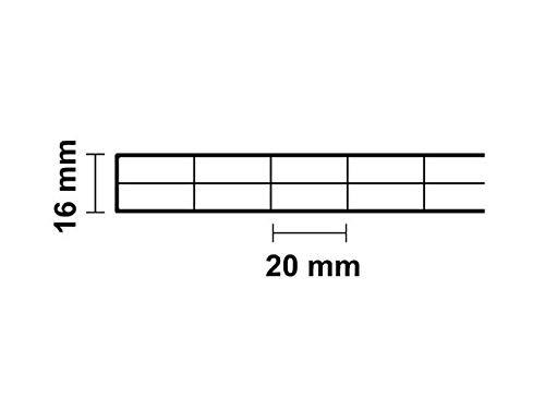 Stegplatte aus Polycarbonat Doppelstegplatte 16mm stark klar 980mm x 2500mm Steg 3 Fach