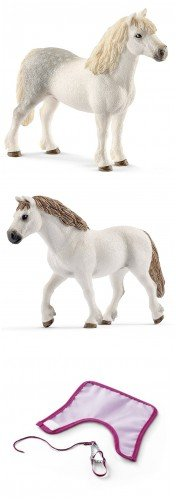 Schleich Farm life Horse Couple with Blanket Set of Three (3) with Two White Horses and Cover. Durable, Well-researched Toys (Farm White Horse)
