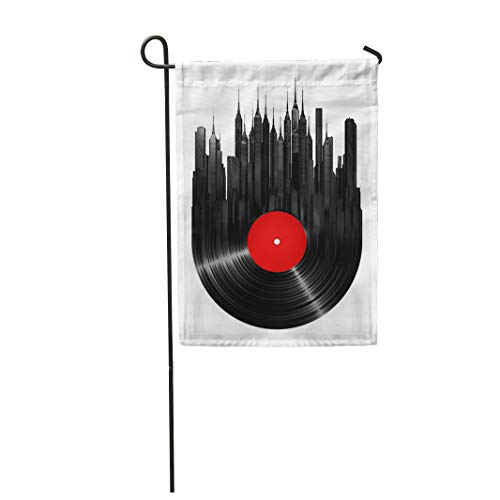 - Semtomn Garden Flag Record Vinyl City Music Turntable Jazz Building Sound Retro 12