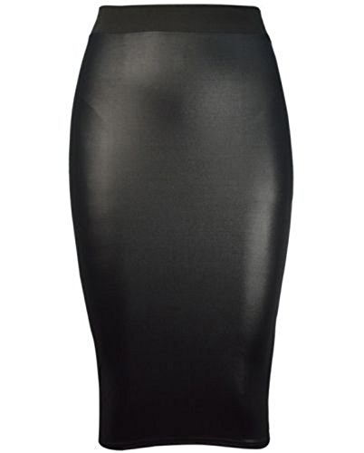 FashionMark Womens Plus Size Wet Look Peplum Pencil Skirt Ladies Celebrity PVC Leather Skirt - Black - Sizes 6-20 (L/XL=14/16, Black) Leather Look Pencil Skirt