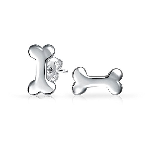 Bling Jewelry Petite Puppy Dog Bone Kids Stud earrings 925 Sterling Silver 9mm