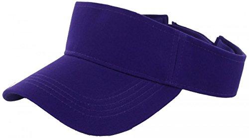 Purple_Plain Visor Sun Cap Hat Men Women Sports Golf Tennis Beach New (New Western Rhinestone Concho)