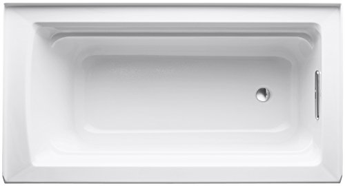 KOHLER K-1123-RA-0 Archer 5-Foot Bath with Comfort Depth Design, Integral Apron and Right-Hand Drain, White