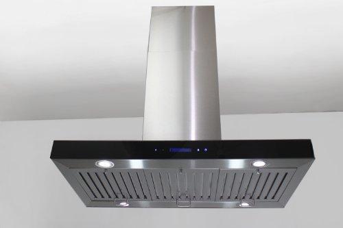 AKDY - Ventilador de cocina para campana de cocina, 76,2 cm, acero inoxidable, color negro