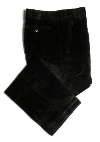 TCM Stretch Corduroy Dress Pants For Men - 1/2 Lined - Flat Front - Black