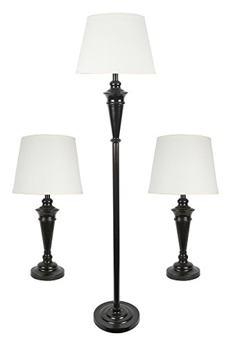 Urbanest Peterson Set of 3 Table and Floor Lamps, Oil-Rubbed Bronze with Cream Linen Shades (Uno Desk Chair)