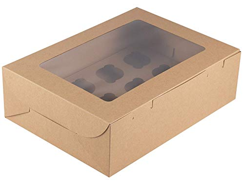 Cupcake Boxes - 50-Pack Large Cardboard Cupcake Boxes, Kraft Brown Bakery Box with Clear Window and Inserts, 12 Cavity, Disposable Take-Out Container, Bakeshop Supplies, 14 x 10 x 4 Inches -