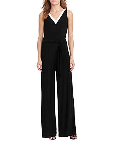(Lauren Ralph Lauren Petite Jersey Wide-Leg Jumpsuit (Black,)