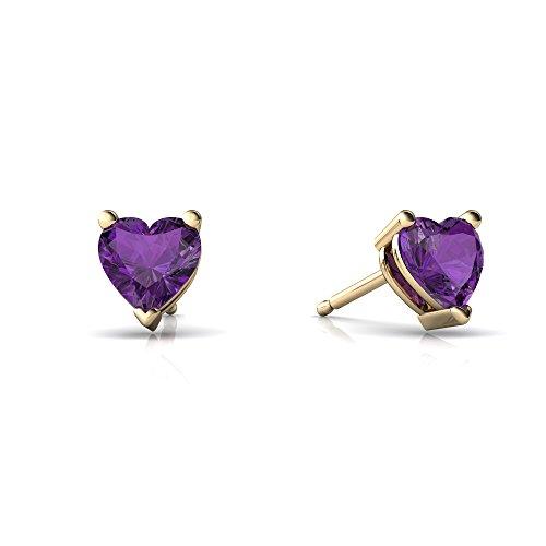 Heart Earring Amethyst 5mm (14kt Yellow Gold Amethyst 5mm Heart Heart Stud Earrings)