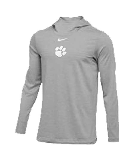 Nike Mens Clemson Tigers Player Hoodie Top Silver/Heather/White Size Medium