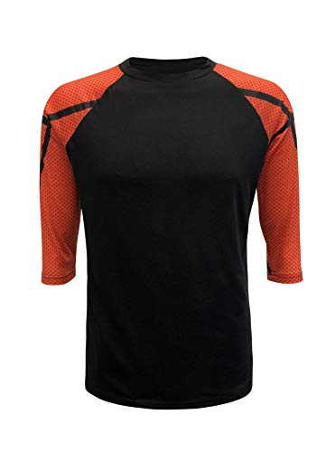 ILTEX Sports Adult & Kids Raglan Shirt Printed Sleeves Athletic Jersey Soccer Volleyball Basketball Football (Basketball, X-Large) Adult Basketball Jersey Shirt