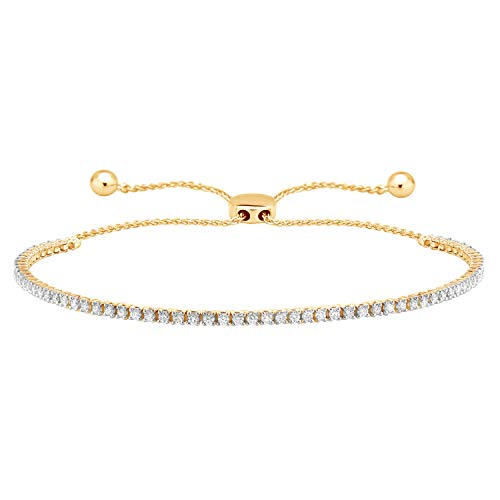 Carats For You 10k Solid Gold 1.02ct Genuine Real Brilliant Round Cut Natural Diamond Tennis Bolo Adjustable Bracelet for women