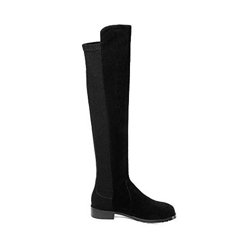Knee Boots Square Low Black Riding Flock Woman Lady Shoes Latest Heel Winter Autumn Boots Women's 8qwOxA5