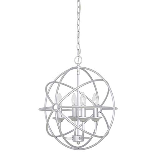 Ravenna Home Open Geometric Round 4 Light Ceiling Pendant Chandelier With LED Light Bulb - 16 x 16 x 18.50 Inches, Silver