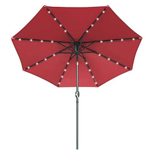 Garden and Outdoor 9FT Patio Umbrella Ourdoor Solar Umbrella LED Umbrellas with 32LED Lights, Tilt and Crank Table Umbrellas for Garden… patio umbrellas