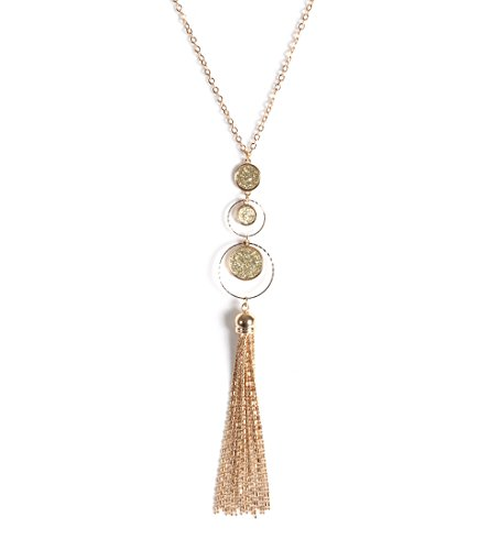 Silver Tone Beaded Disc - Isaloe Long Necklace Druzy Disc Beaded Chain Tassel Pendant Necklaces for Women(Gold)