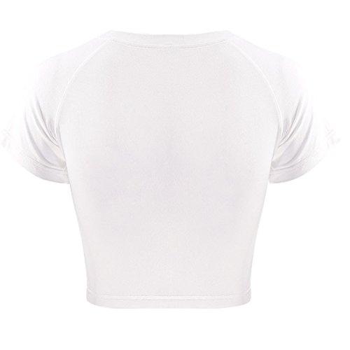 White shirt Caractère Imprimé Coton T Crop 100 Raglan Blanc Tops Femmes Manches HqXZE