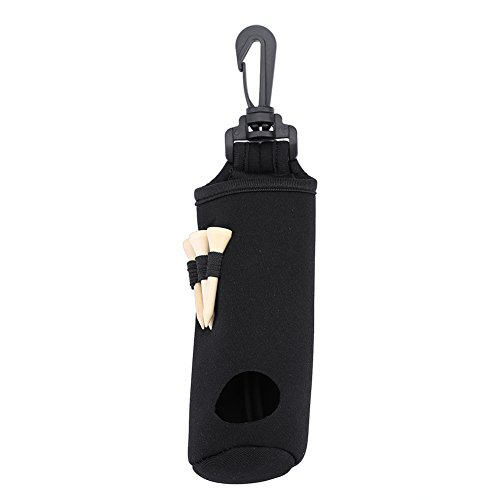 5 Colors Neoprene Golf Ball Bag Holder Clip Utility Pouch Sports Golfing Accessories With Tees (Black)