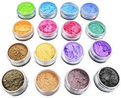 (ULTNICE Glitter Powder Soap Dye Mica Powder Pigment Eyeshadow Lip Gloss Face Nail Art Nail Polish Pigment Powder Making Colorant Set 16PCS Random Color)