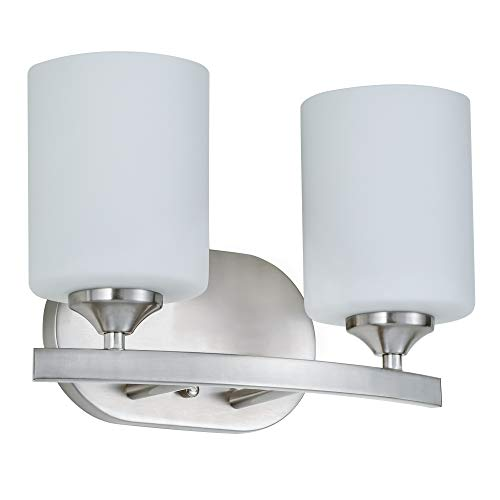 Kingbrite Vanity Wall Sconces with 2 Lights, Wall Light Fixture Brushed Nickel, White Glass,UL Listed - Sconce Two Light Nickel