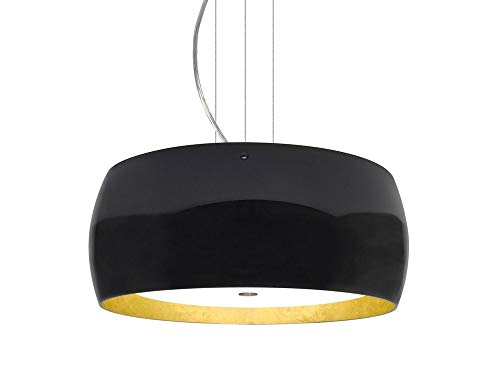 Besa Lighting 1KV-POGOGF-SN Pogo - Three Light Cable Pendant, Satin Nickel Finish with Gold Foil Glass with Black Shade