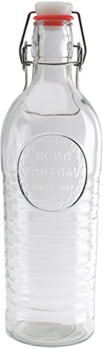 Circleware 05328 Spiral Hill Glass Beer Milk Water Bottle Carafe with Locking Swing Top Easy Wire Cap Stopper, Kitchen Dispenser Glassware for Oil, Vinegar and Beverage Drinking, 38 oz, Clear