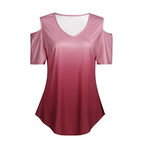 DE Damen Kurzarm Lose V-neck Damenshirt Shirt Sommer Lässig Blusen T-Shirt Tops