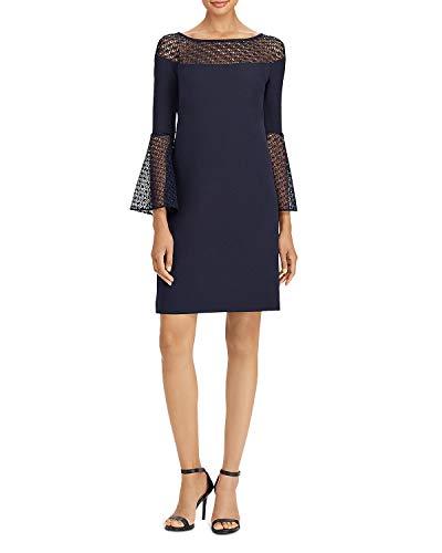 Dress Trimmed Crochet (Lauren Ralph Lauren Women's Crochet Lace-Trim Dress Navy 14)