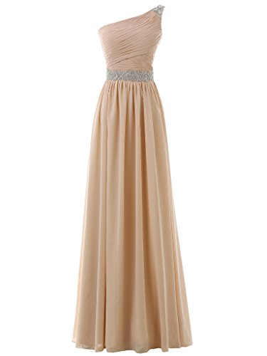 One Chiffon Shoulder Women's White Gown Prom Evening Dress Bridesmaid Solovedress Long Dress 7EZ5YqYw