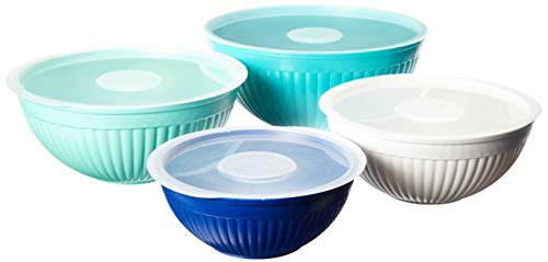 Nordic Ware 69518 Covered Bowl Set, 8-pc, Set of 8, Coastal Colors