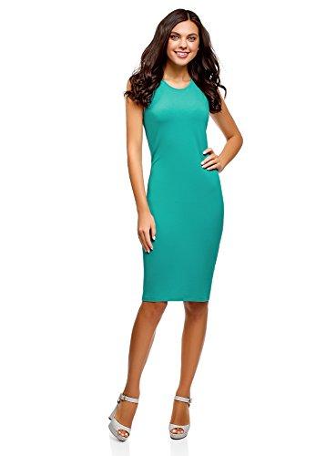 oodji Ultra Women's Cotton Bodycon Dress, Turquoise, 10