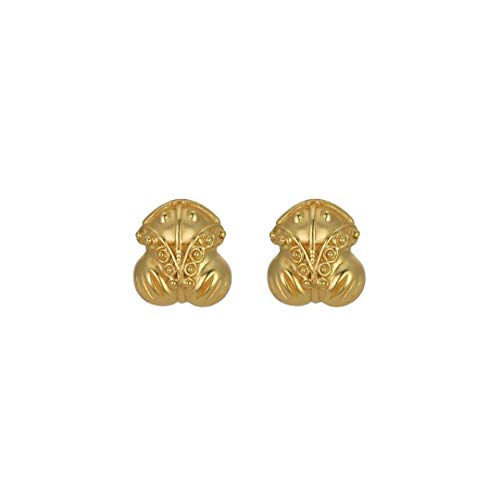 Across The Puddle, Historical Jewelry Collection, 24k Gold Plated Pre-Columbian Embossed Frog Stud (XS) Earrings 24k Gold Plated Frog