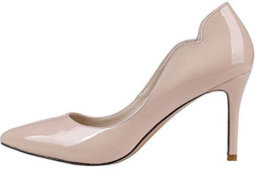 Calaier Ladies Cajust 8.5cm Stiletto Slip On Pumps Scarpe Rosa