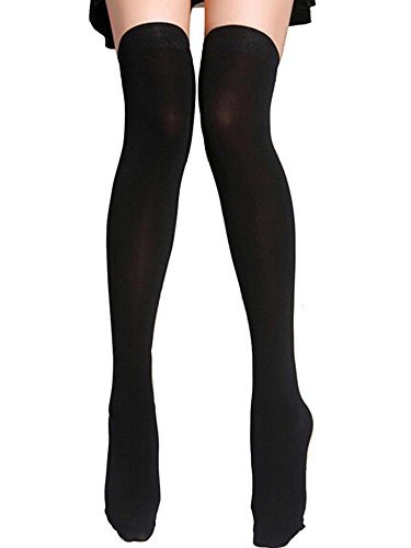 Opaque Nylon - Womens Full Figure Plus Size Black Nylon Opaque Thigh High Stockings Tights Hosiery