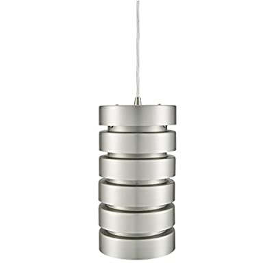 Linea di Liara Macchione Large 14 inch Modern Industrial Pendant Light | Brushed Steel Metal Hanging Light Fixture LL-P518