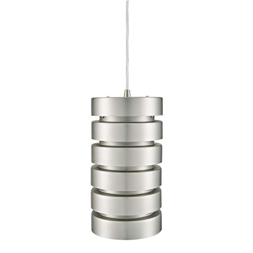 Linea di Liara Macchione Large 14 inch Modern Industrial Pendant Light | Brushed Steel Metal Hanging Light Fixture LL-P518 (Kitchen Colored Lights Pendant)